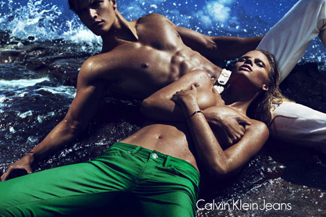 Lara Stone Calvin Klein Jeans Spring Summer 2012 Ad Campaign Too Tan