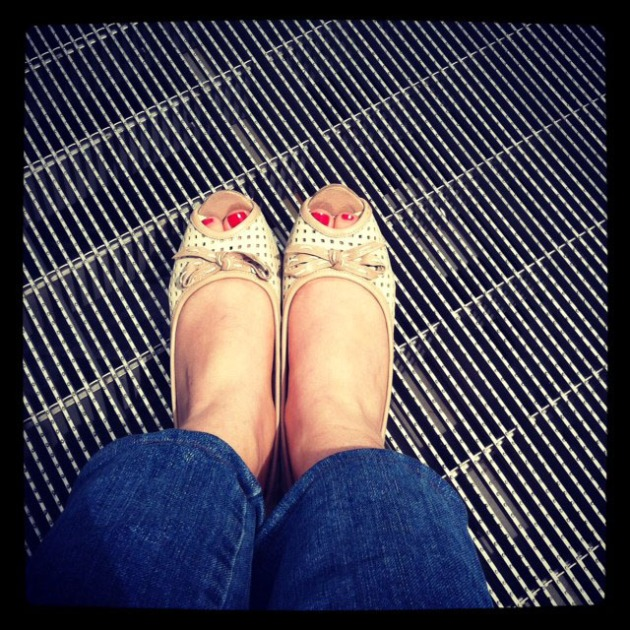 Beige Mesh Leather Shoes Red Nails