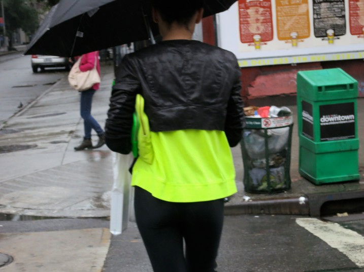 Neon Green Top And Clutch Black Leather Jacket