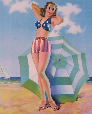 1940 Pinup Girl Flag Bathing Suit
