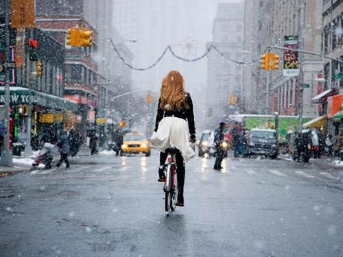 Bike Riding In The Snow NYC